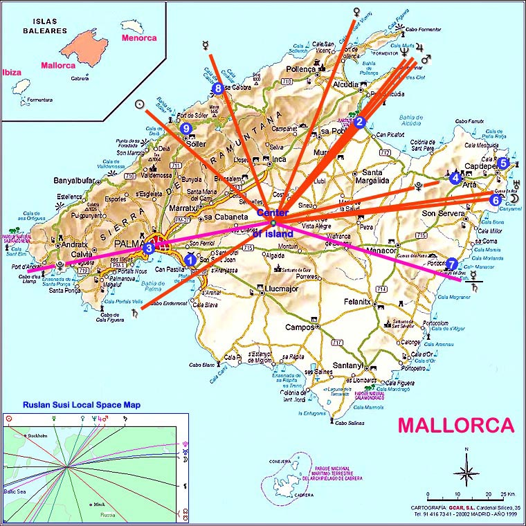 Map Of Spain Majorca.Spain Mallorca Astrology Islands